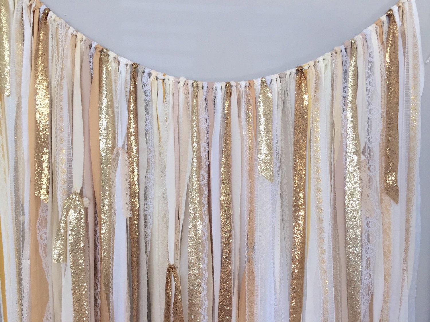 Shades Of Gold Sequin amp Lace Ribbon Sparkle Wedding Backdrop