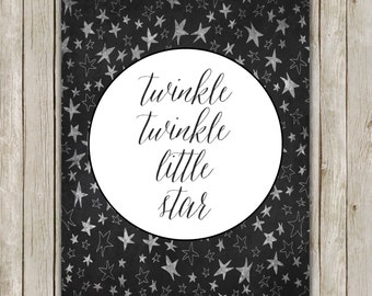 8x10 Twinkle Twinkle Little Star Print, Nursery Rhymes Art, Black and White Art, Nursery Decor, Digital Art Poster, Instant Digital Download