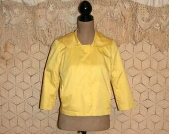 Yellow Jacket Peter Pan Collar Cropped Jacket 3/4 Sleeve S M Women Jackets Cotton Jacket Spring Summer Jacket Small Medium Womens Clothing