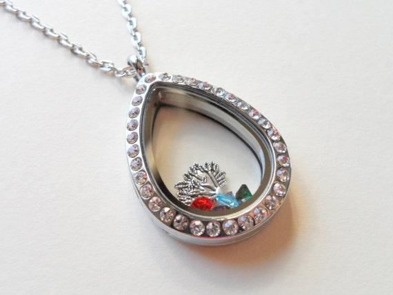 floating charm locket necklace birthstones for children. Black Bedroom Furniture Sets. Home Design Ideas