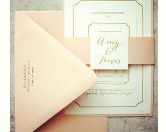100 (Quantity) - Peach & Gold Wedding Invitations + RSVP