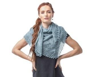Gray scarf, hand knit shawl, lace shawl, knit scarf, knit stole, shawl wrap, women shawl. Ready to ship