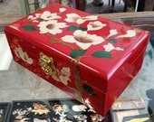 Vintage Red Lacquer Hand Painted Asian Jewelry Box w/Silk Tray Insert