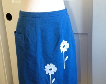 Sweet blue cotton skirt with applique flowers