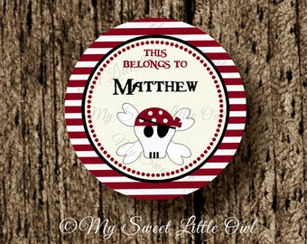 School label - pirate name label - name tag sticker - pirate school label - boy book label - this belongs to label - red pirate sticker