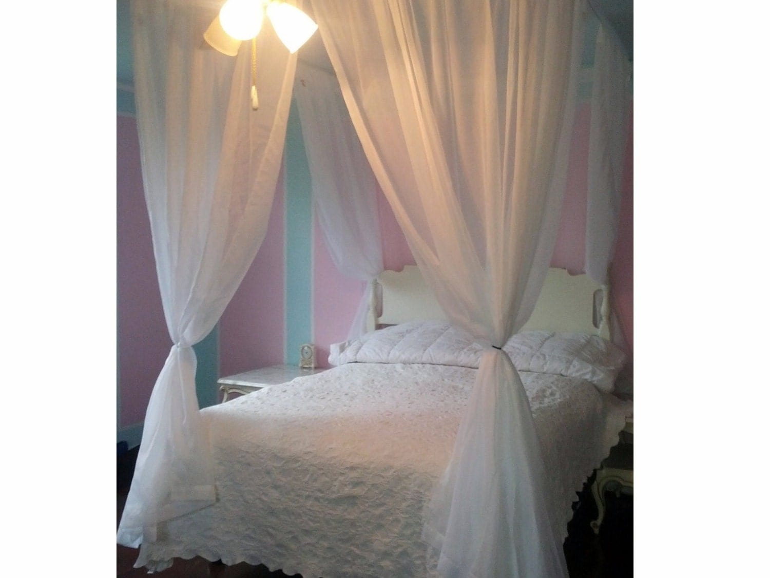 Queen Size Voile Princess Bed Canopy Shabby and Chic Hanging