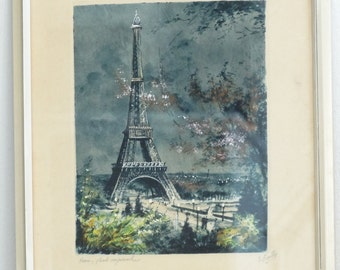 SALE Eiffel Tower by Night Original Etching by Le Bailly // Paris by Night