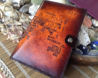 Personalized World Map Passport Holder Cover / Deluxe Italian Leather / Engraved & Hand Dyed / Personalized