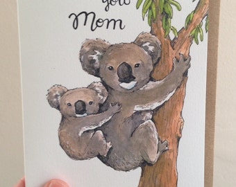 Love You Mom Mother And Baby Koala Mother's Day Card