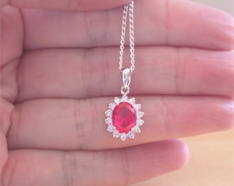 """925 Ruby (Lab Created) Oval Pendant & 18"""" Silver Chain/Ruby Jewellery/Ruby Jewelry/925 Silver Ruby Necklace/July Birthstone/Red Ruby Jewelry"""