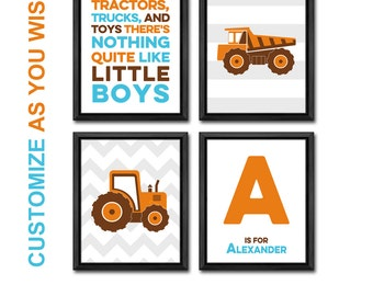 truck baby shower, truck wall art, tractor baby, little boys room decor, personalized truck nursery, baby name print, baby boy nursery