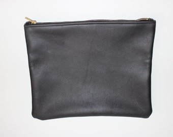 Large Black Leather Zip Clutch