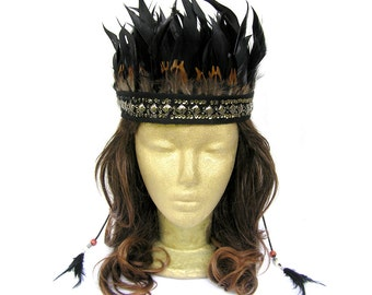 Feather Headdress, Black Wedding Headdress, Tribal Headband, Black Feather Headpiece, Feather Crown, Beaded, Costume, Party