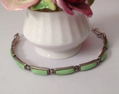 Sterling Silver and Gaspeite bracelet signed by the Designer