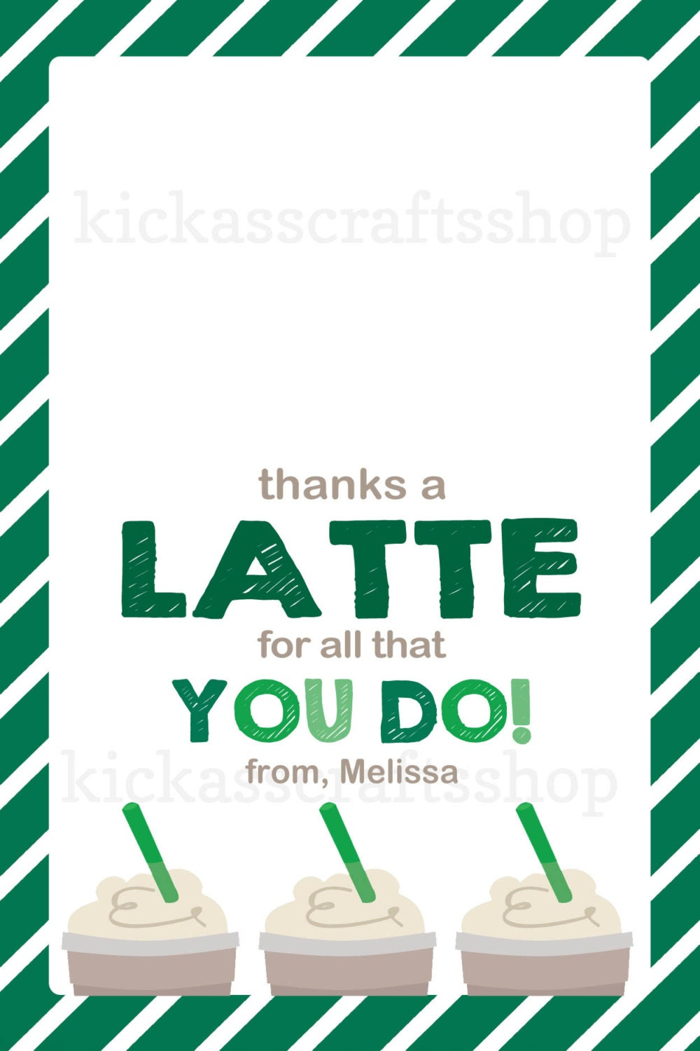 Printable starbucks inspired thanks a latte by Thanks for all you do gifts
