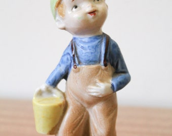 Vintage 1960s Boy with a Pail Figurine Made in Japan