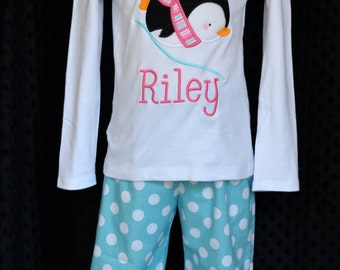 Sliding Penguin Applique Shirt or Onesie Boy or Girl