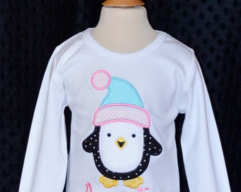 Penguin with Hat and Scarf Applique Shirt or Onesie Boy or Girl