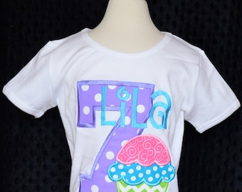 Personalized Birthday Cupcake Applique Shirt or Onesie Girl or Boy