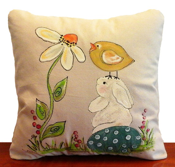 Decorative Pillows For Easter : Easter Bunny Bunny and Flower Daisy Pillow Accent Pillows
