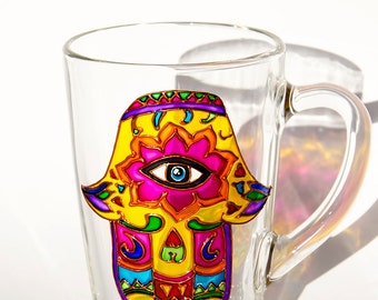 Hamsa Hand of Fatima, Hamsa Coffee Mug, Yoga mug, Ethnic Cup, Protective hand