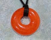 Bold Orange Necklace, Fused Glass Jewelry, Circle - Saloma - -5