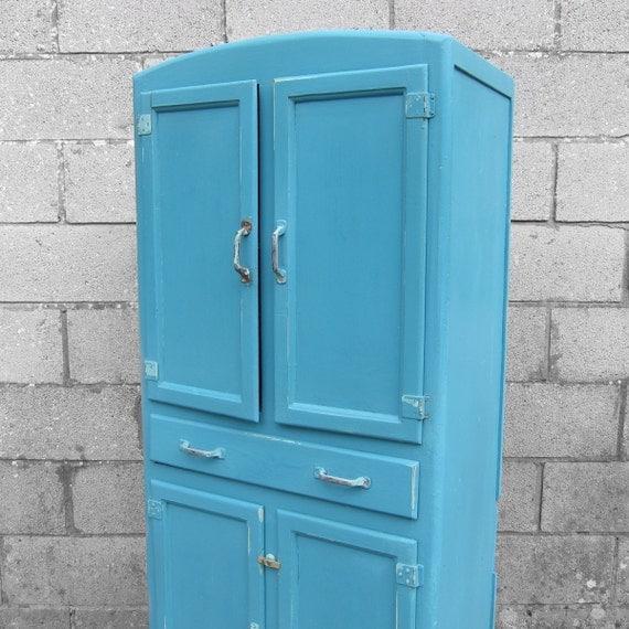 1950s Vintage Painted Shabby Chic Blue Kitchen Storage Larder
