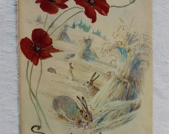 Vintage Botanical Book Page -September - Poppies - Wheatfield - Nature Notes of an Edwardian Lady - Edith Holden - Country Diary