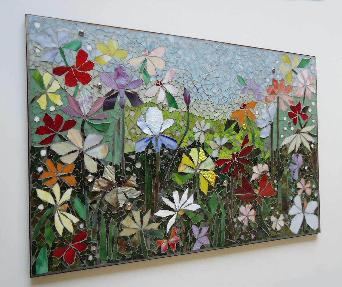 Mosaic wall art stained glass wall decor floral garden indoor for Artwork for wall decoration