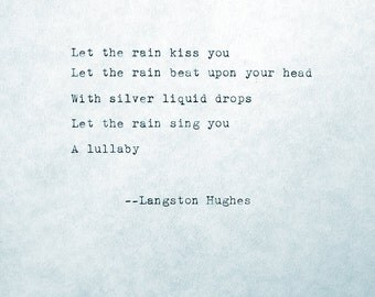 Typewriter Poem Let the rain kiss you April Rain Song Langston Hughes Typed Text Original Life Poem Poetry Old Style Type Distressed Text