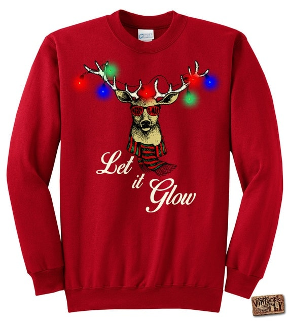LIGHT UP Led Ugly Christmas Sweatshirt Deer with christmas lights Let it Glow unisex Black, Dark Green, Navy, Red, Kelly s,m,l,xl, xxl, 3xl