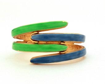 Mid Century Bracelet Original by Robert Acid Green & Blue Enamel Clamper Bracelet, Vintage Bracelet, Enameled Bracelet 1960s Orig by Robert