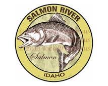 Salmon River Sticker Salmon Fishing Idaho decal Guaranteed No Fade 3 years - UV Laminated - Waterproof - Fishing Gift