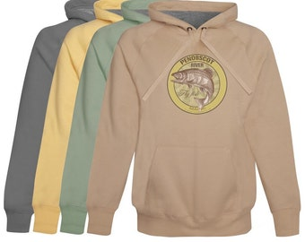Penobscot River Fly fishing Hoodie / Fleece Maine - zip up or pullover - Softest Cotton Hoodie Fly Fishing Gift