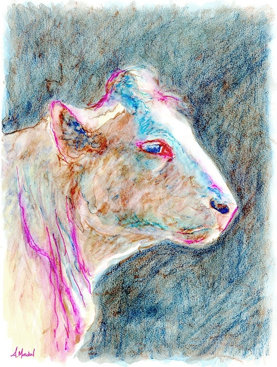 Cow Portrait, Watercolor Pastel Sketch