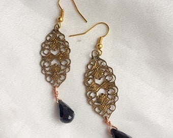 Vintage fillagre brass & black Swarovski crystal dangle earrings. Long, damask steampunk