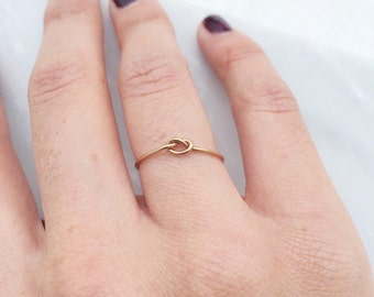 14k gold filled knot ring for bridesmaids, sisters, best friends