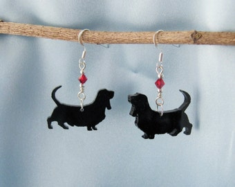 Basset Hound Laser Cut Earrings with Swarovski Crystal