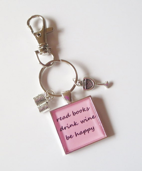 Read Books, Drink Wine, Be Happy Pink Purse Clip