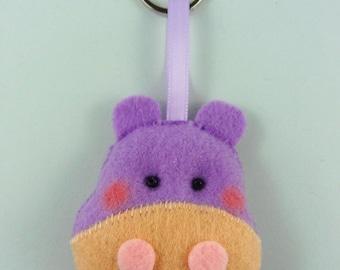 Felt Keychain. Felt Keyring. Felt Hippo Keychain. Hippo Keyring. Soft Felt Hippo. Ornament. Bag Charm.