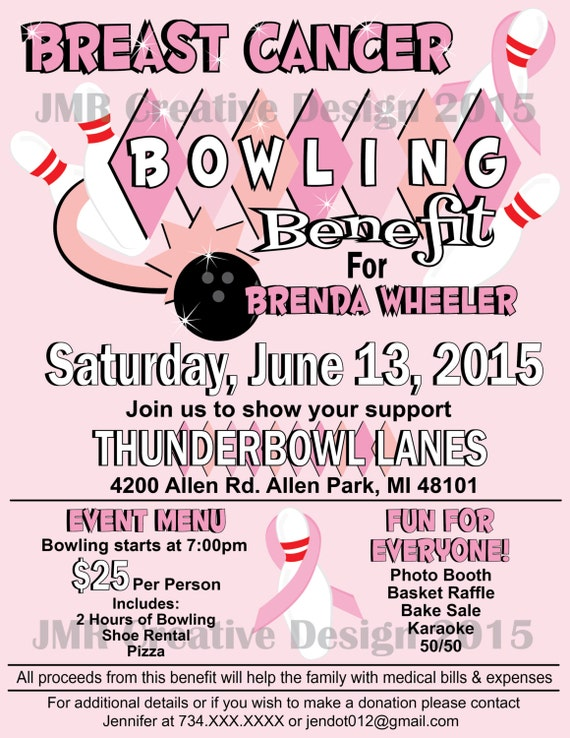 breast cancer bowling benefit flyer strike by jmrcreativedesign. Black Bedroom Furniture Sets. Home Design Ideas