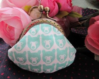 Handmade Green Bear Print Kiss Lock Coin Purse Coins Bag Small Pouch (6cm)