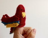 Scarlet Macaw, Fairy Tale & Fantasy Finger puppet, hand-knit parrot miniature doll