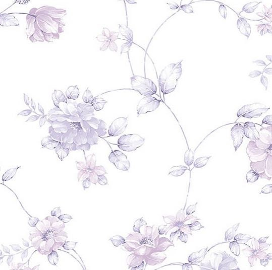 Purple garden floral toile on white shabby cottage floral for Toile shabby chic