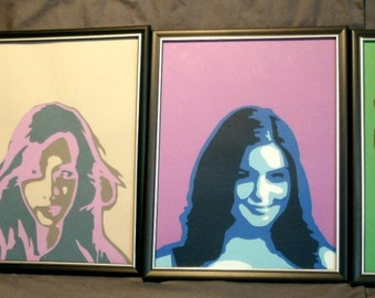 Set of Portraits of the Four Elements - lady principles of early science - classical elements of alchemy - paper portraits