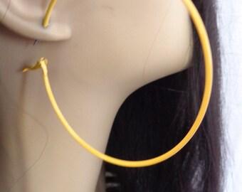 Yellow Earrings 2.75 inch Yellow hoop earrings Classic Hoop Earrings