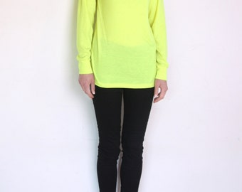 90's neon yellow turtleneck blouse, highlighter yellow, bright yellow blouse, grunge, rave, club kid, kitsch, fluo