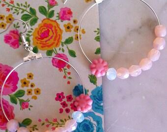 Gift under 30 euroPendant earrings, hoop crystal earrings, hoop earrings, hoop, crystal earrings