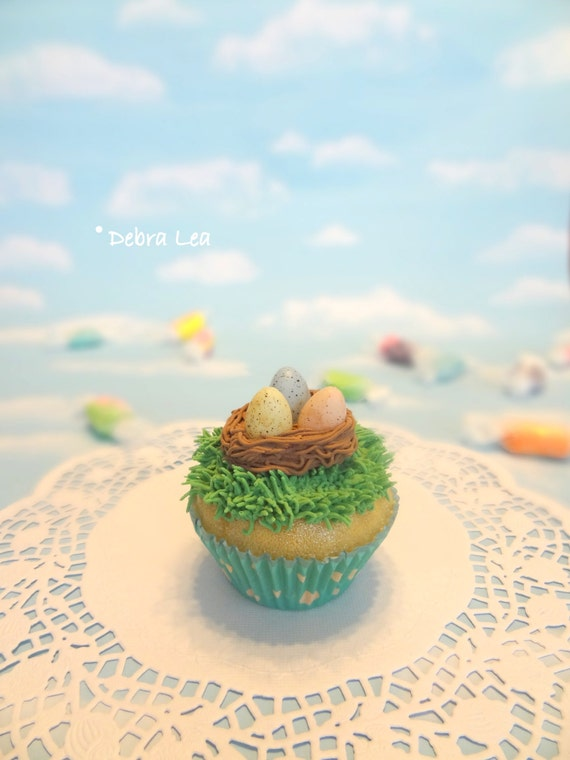 Fake Cupcake Handmade Easter Spring Speckled Candy Eggs Nest on Grass Photo Kitchen Food Prop Display
