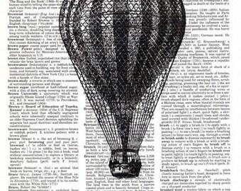 Vintage Wall Art Print - Dictionary Art - Vintage Dictionary Paper - Vintage Hot Air Balloon
